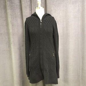 Athleta Cardigan Sweater Yoga M Black Knit Zip Up